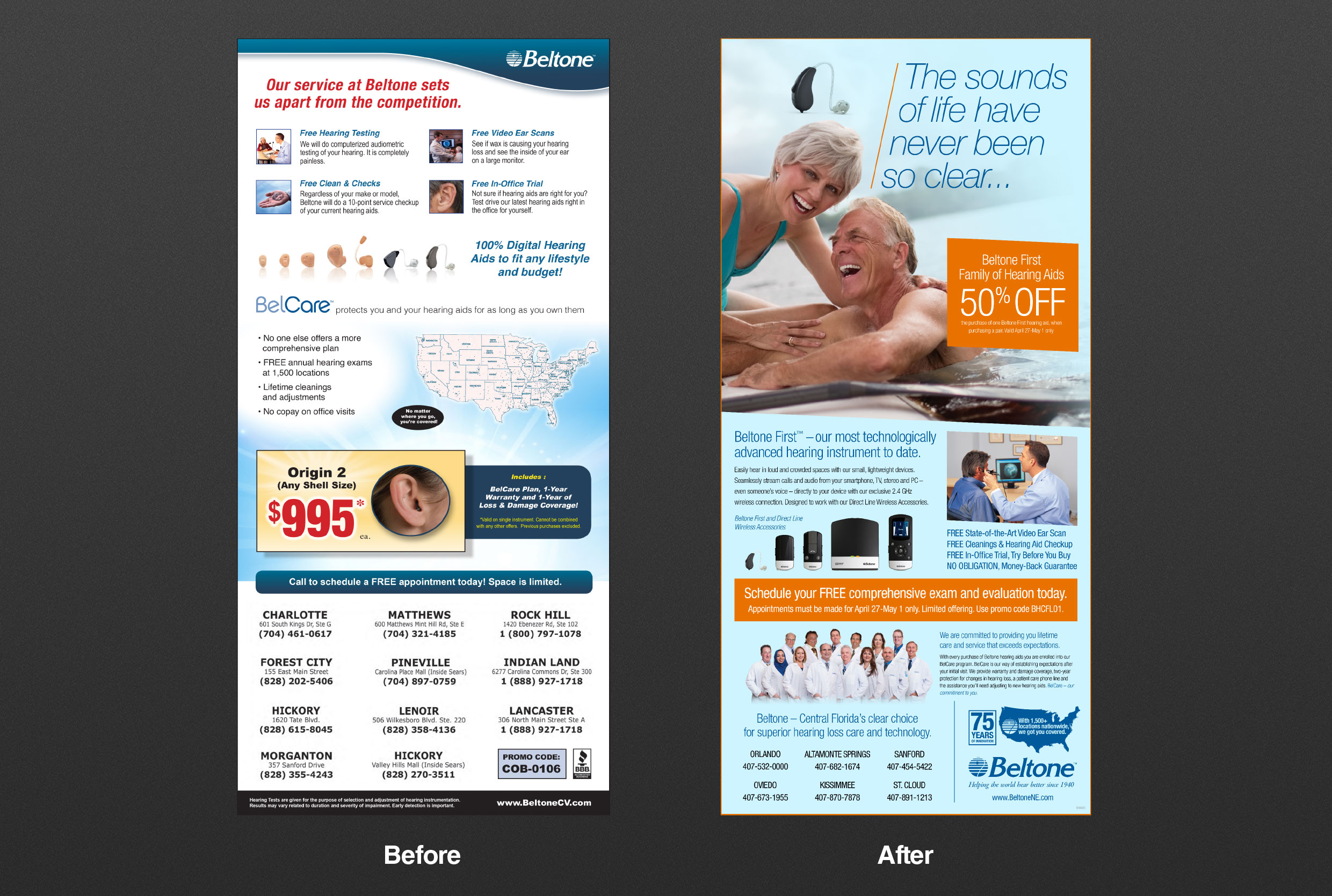 Beltone Before and After Print Ads